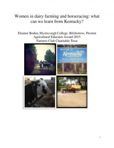 Women in dairy farming and horseracing: what can we learn from Kentucky?