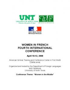 WOMEN IN FRENCH FOURTH INTERNATIONAL CONFERENCE