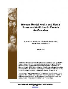 Women, Mental Health and Mental Illness and Addiction in Canada: An Overview
