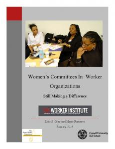 Women s Committees In Worker Organizations. Still Making a Difference