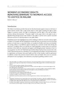 WOMEN S ECONOMIC RIGHTS: REMOVING BARRIERS TO WOMEN S ACCESS TO JUSTICE IN MALAWI