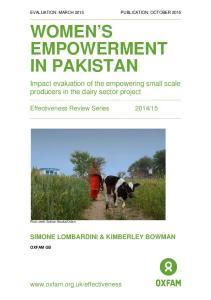 WOMEN S EMPOWERMENT IN PAKISTAN
