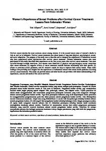 Women s Experiences of Sexual Problems after Cervical Cancer Treatment: Lessons from Indonesian Women