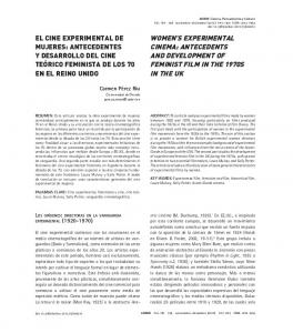 WOMEN S EXPERIMENTAL CINEMA: ANTECEDENTS AND DEVELOPMENT OF FEMINIST FILM IN THE 1970S IN THE UK