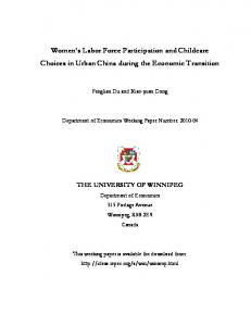Women s Labor Force Participation and Childcare Choices in Urban China during the Economic Transition