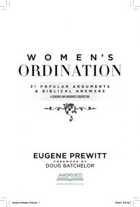 Women s Ordination A Seventh-day Adventist Perspective Eugene Prewitt