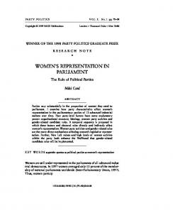 WOMEN S REPRESENTATION IN PARLIAMENT