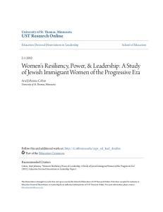 Women s Resiliency, Power, & Leadership: A Study of Jewish Immigrant Women of the Progressive Era