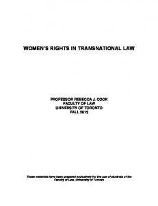 WOMEN S RIGHTS IN TRANSNATIONAL LAW