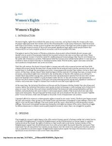 Women s Rights On the File menu, click Print to print the information. Women s Rights I. INTRODUCTION II. ORIGINS