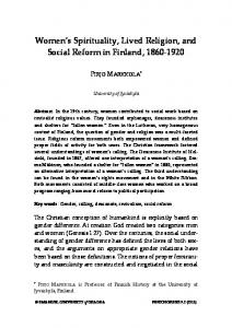 Women s Spirituality, Lived Religion, and Social Reform in Finland,