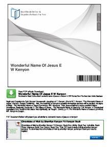 Wonderful Name Of Jesus E W Kenyon