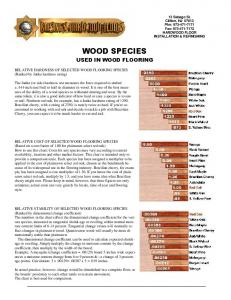 WOOD SPECIES USED IN WOOD FLOORING. RELATIVE HARDNESS OF SELECTED WOOD FLOORING SPECIES (Ranked by Janka hardness rating)