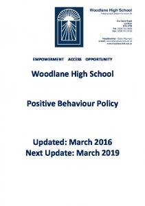 Woodlane High School. Positive Behaviour Policy