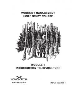WOODLOT MANAGEMENT HOME STUDY COURSE MODULE 1 INTRODUCTION TO SILVICULTURE