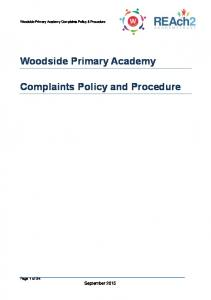Woodside Primary Academy Complaints Policy and Procedure