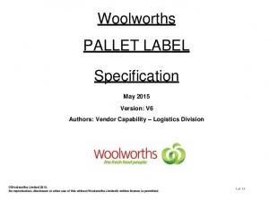 Woolworths PALLET LABEL. Specification