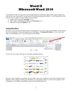 Word II Microsoft Word 2010