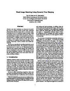 Word Image Matching Using Dynamic Time Warping