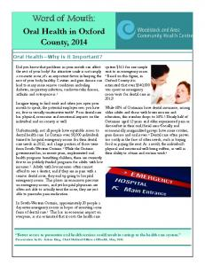 Word of Mouth: Oral Health in Oxford County, Oral Health Why is it Important?