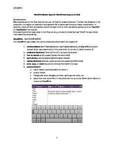 Word Prediction Apps for Word Processing on an ipad