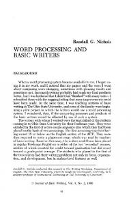 WORD PROCESSING AND BASIC WRITERS