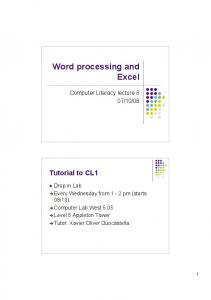 Word processing and Excel