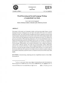 Word Processing and Second Language Writing: a Longitudinal Case Study