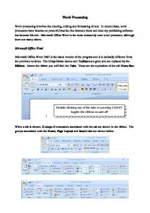 Word Processing. Microsoft Office Word