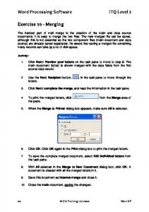 Word Processing Software itq Level 2. Exercise 55 - Merging