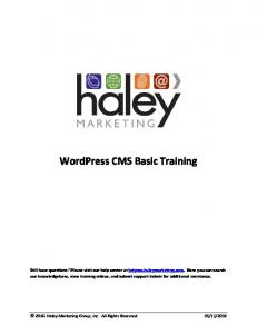 WordPress CMS Basic Training