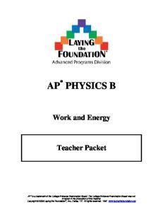 Work and Energy. Teacher Packet