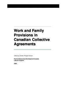 Work and Family Provisions in Canadian Collective Agreements