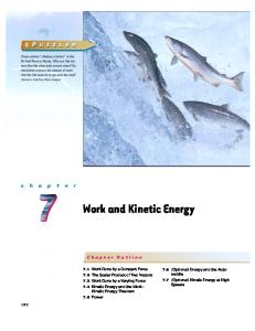 Work and Kinetic Energy. Chapter Outline