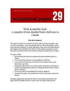 Work around the clock A snapshot of non-standard hours child care in Canada