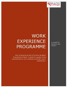 WORK EXPERIENCE PROGRAMME