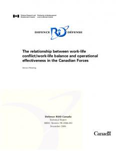 work-life balance and operational effectiveness in the Canadian Forces