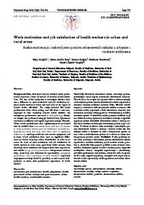 Work motivation and job satisfaction of health workers in urban and rural areas