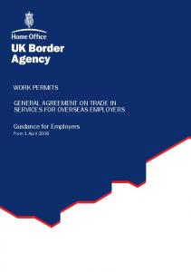 WORK PERMITS GENERAL AGREEMENT ON TRADE IN SERVICES FOR OVERSEAS EMPLOYERS. Guidance for Employers