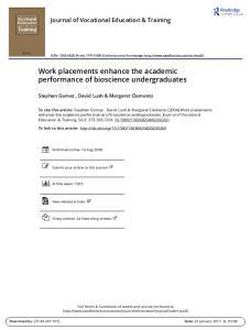Work placements enhance the academic performance of bioscience undergraduates