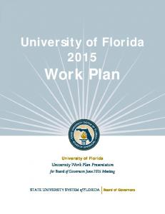 Work Plan. Work Plan. University of Florida. University of Florida. University Work Plan Presentation. STATE UNIVERSITY SYSTEM of FLORIDA