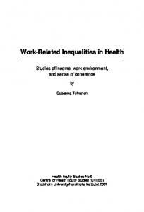 Work-Related Inequalities in Health