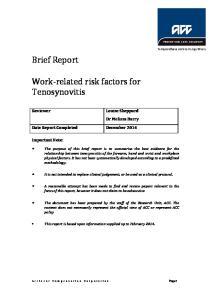 Work-related risk factors for Tenosynovitis