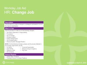 Workday Job Aid HR: Change Job