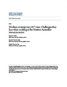 Workers on temporary 457 visas: Challenges they face when working in the Western Australian resources sector