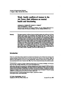 Work±family con icts of women in the Air Force: their in uence on mental health and functioning