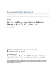 Workfare and Involuntary Servitude--What You Wanted to Know But Were Afraid to Ask