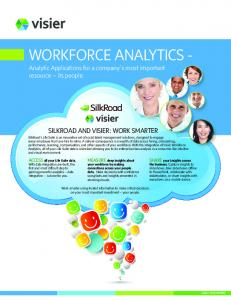 WORKFORCE ANALYTICS Analytic Applications for a company s most important