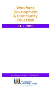 Workforce Development & Community Education FALL 2016