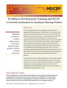 Workforce Development Training and SNAP: